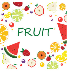 Frame with sliced fruit exotic fruits in cartoon vector