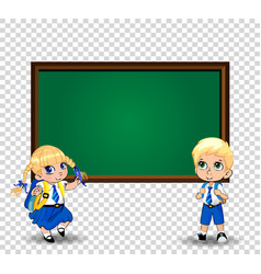 girl and boy schoolkids pupils in uniform vector image