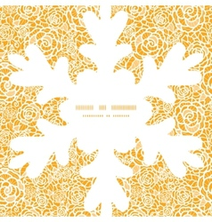 golden lace roses Christmas snowflake silhouette vector image