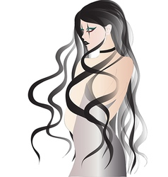 Goth girl with long black hair in white dress vector