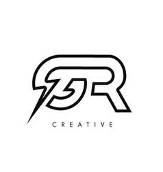 Gr letter logo design with lighting thunder bolt vector
