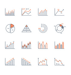 graphs and charts icons set vector image