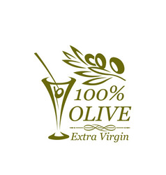 green olive branch and cocktail glass icon design vector image