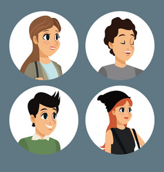 Group people communication dialog round icons vector