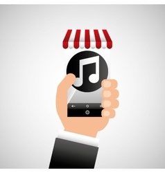 Hand holding e-shopping music design vector