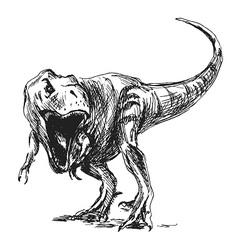 Hand sketch tyrannosaurus vector image