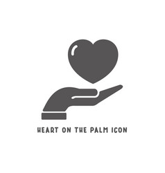 heart on palm hand icon simple flat style vector image