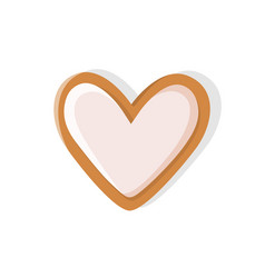 Heart shaped cookie made of gingerbread pastry vector