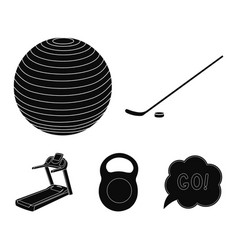 hockey stick with puck ball weight treadmill vector image