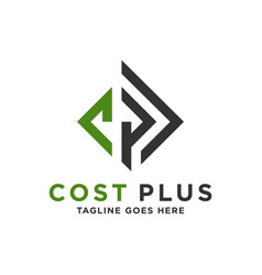 industrial business logo with letter cp vector image