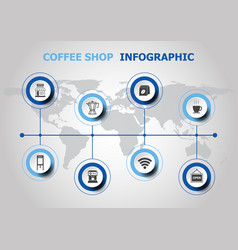 infographic design with coffee shop icons vector image