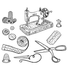 ink hand drawn style sewing kit vector image vector image