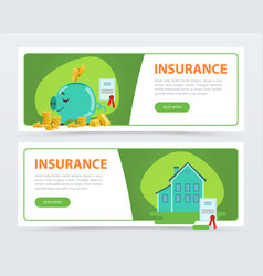 insurance banners set protection of property and vector image