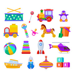 kid toys drum and train penguin and truck ball vector image