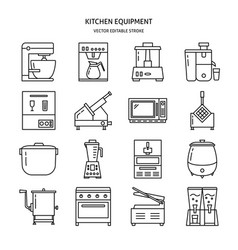 Kitchen equipment icon set in line style vector
