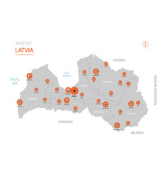 latvia map with administrative divisions vector image