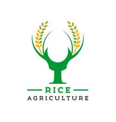 Logo design y letter rice farm vector