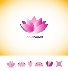 Lotus flower pond logo icon set vector image