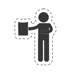 Man holding document figure pictogram vector