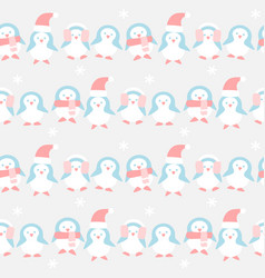 Many penguins in winter pattern vector