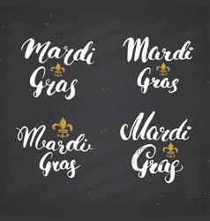 mardi gras calligraphic letterings set vector image