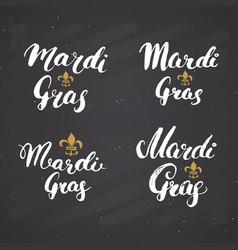 Mardi gras calligraphic letterings set vector