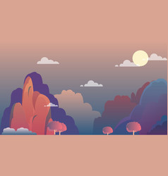 mountain landscape on evening with sky vector image
