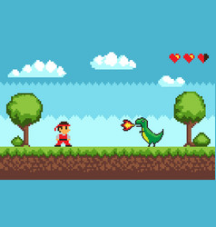 Old pixel game man and dragon with fire vector