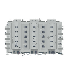 One desrtoyed five-story eastern european building vector