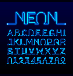 One thin line neon tube font vector