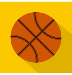 Orange basketball ball icon flat style vector