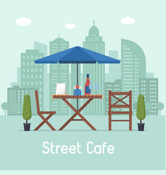 Outdoor cafe with table and seats vector
