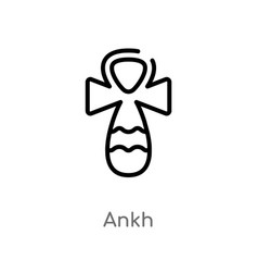 Outline ankh icon isolated black simple line vector