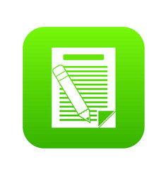 paper and pencil icon digital green vector image