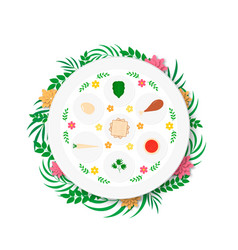 Passover ceder plate with traditional food with vector
