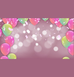 pink balloons on white lighting glitters birthday vector image