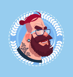 Profile icon male emotion avatar hipster man vector