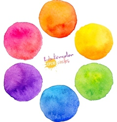 Rainbow watercolor circles vector image