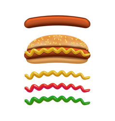 realistic detailed 3d hotdog fast food and vector image