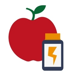 Red apple with dietary supplement vector