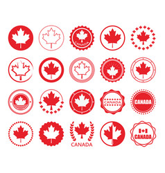 Red canada flag and maple leaf circle emblem set vector