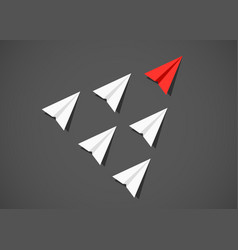 red paper airplane as a leader among white vector image