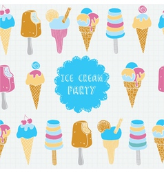 Retro of ice cream seamless pattern vector