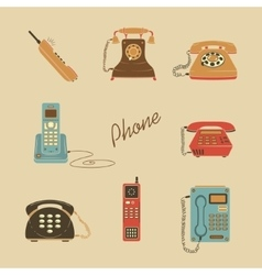 Retro Phone Icons vector