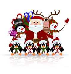 Santa Claus penguins reindeer and snowman vector image