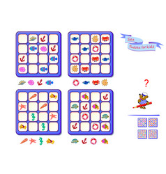 Sea sudoku for kids page for brain teaser book vector