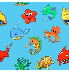 Seamless pattern of cartoon sea creatures vector