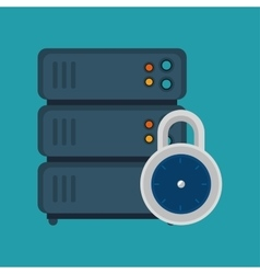 server computer lock security blue background vector image