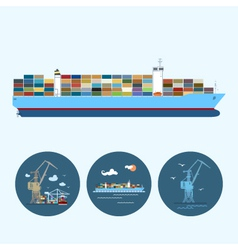Set icons with crane containership vector image