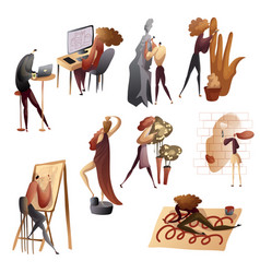 Set images people in creative process vector